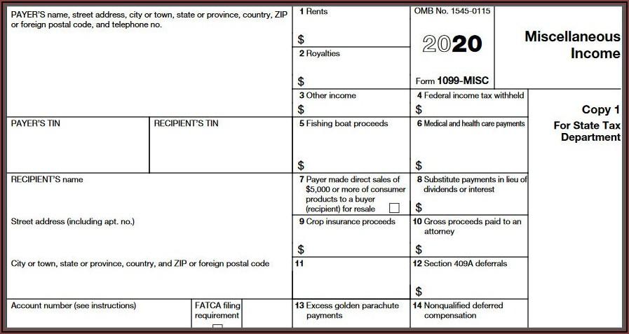 Sample 1099 Misc Form For 2019