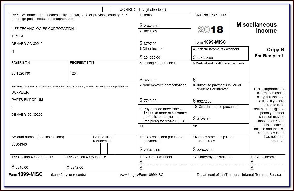 Sample 1099 Misc Form