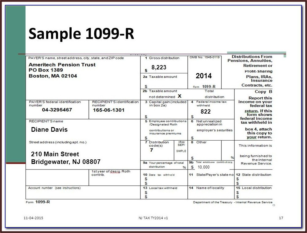 Sample Form 1099 B