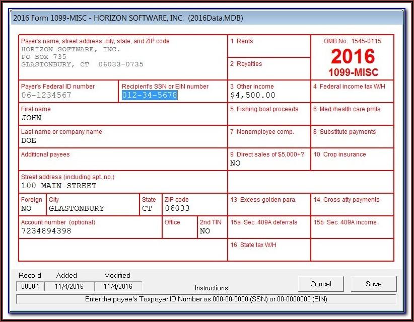 Sample Form 1099 Misc
