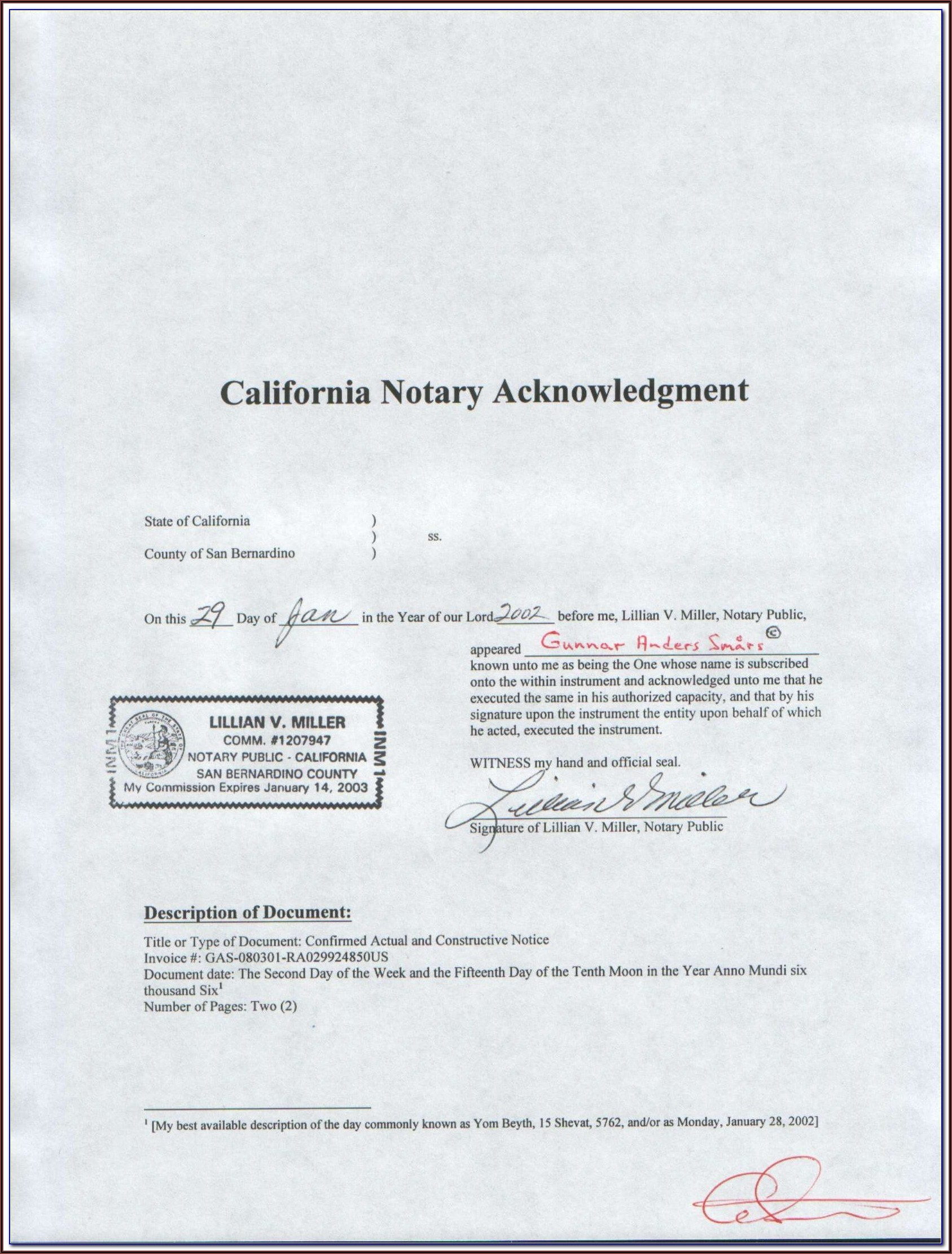 Sample Notary Acknowledgment