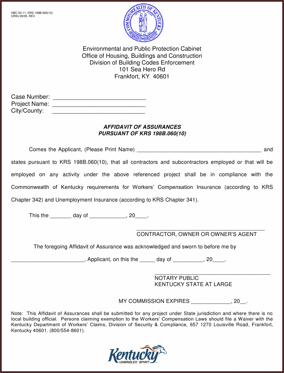 Sample Notary Forms Kentucky