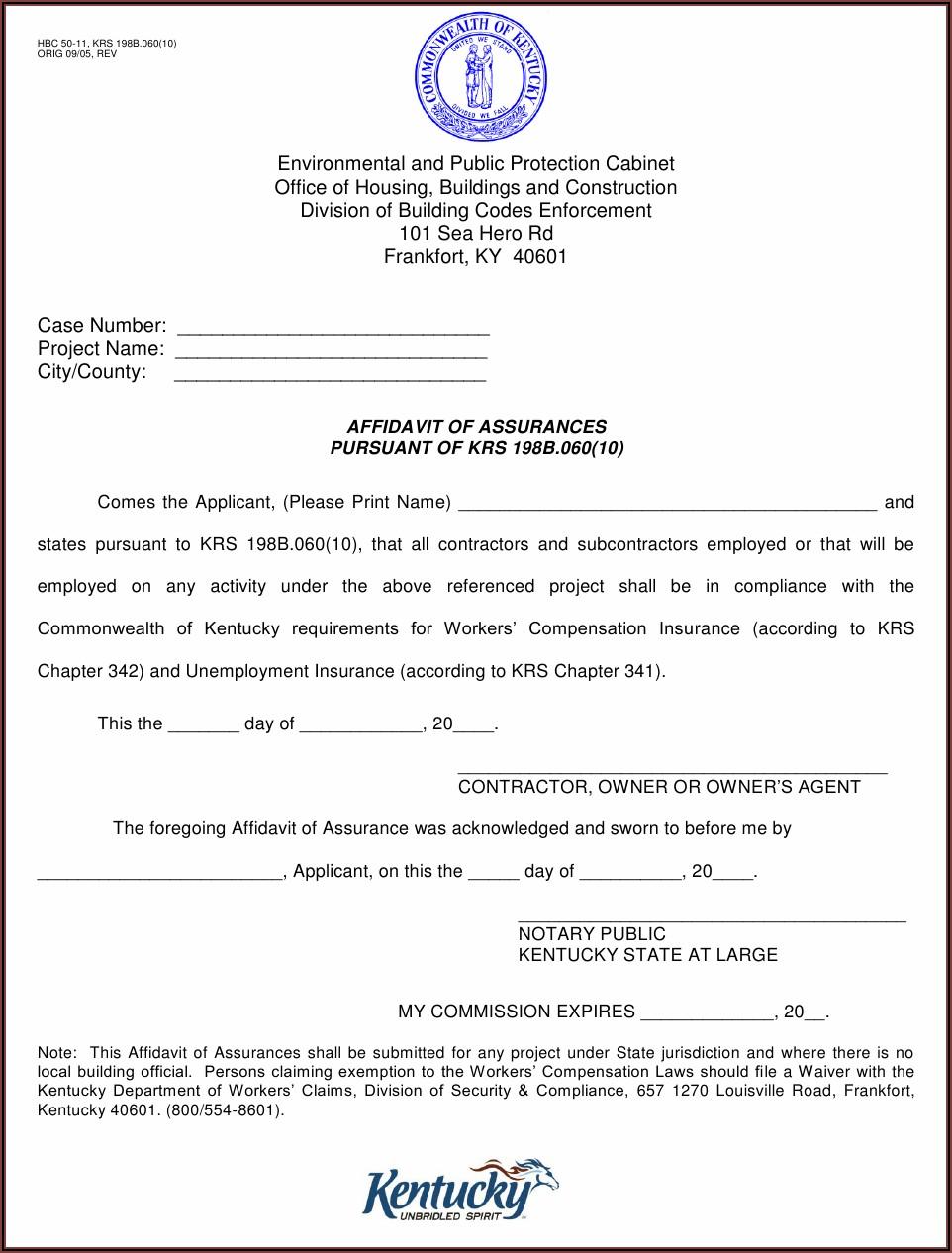 Sample Notary Forms Kentucky