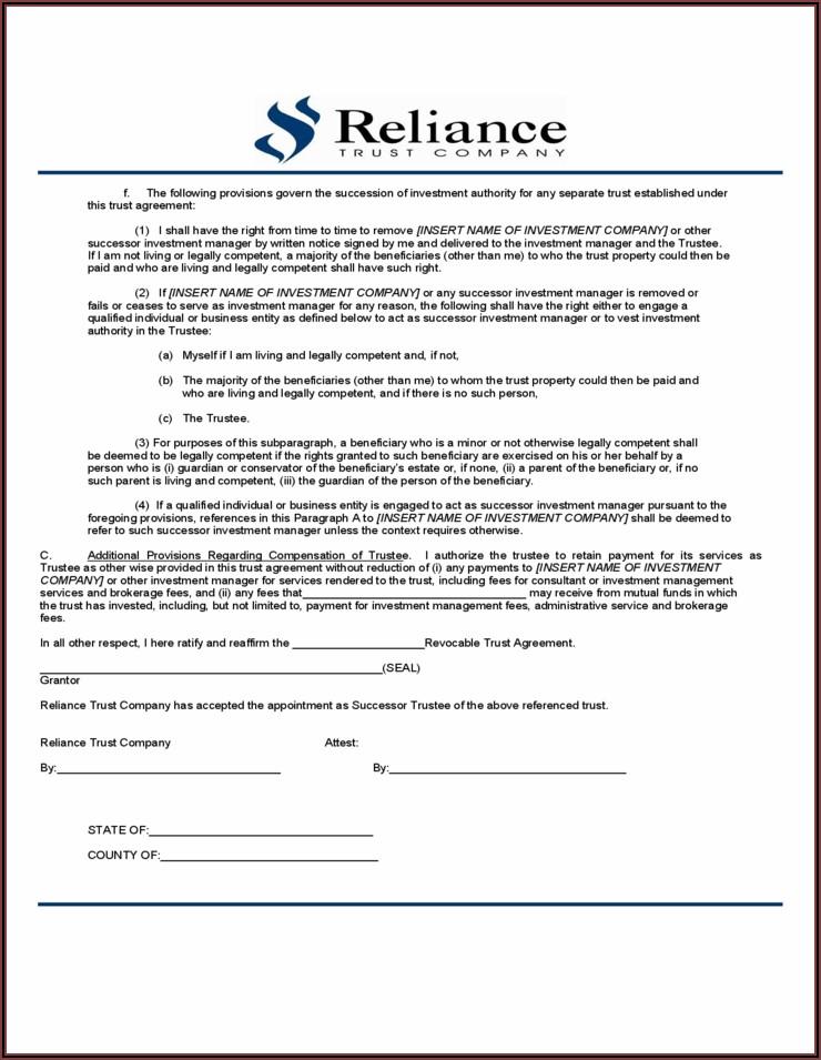 Sample Trust Amendment Form