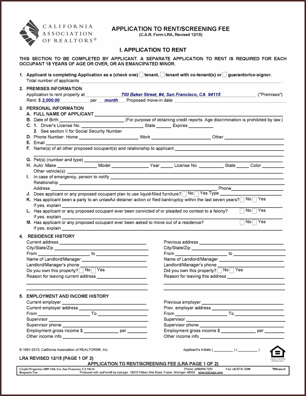 San Francisco Apartment Rental Application Form