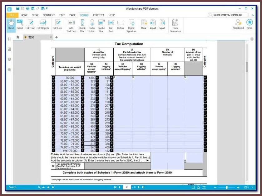Schedule 1 Form 2290 Online