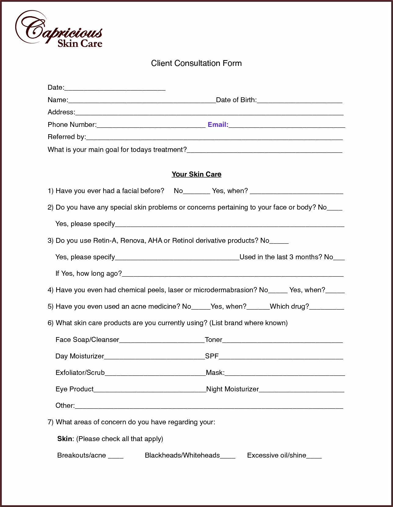Semi Permanent Makeup Consultation Form
