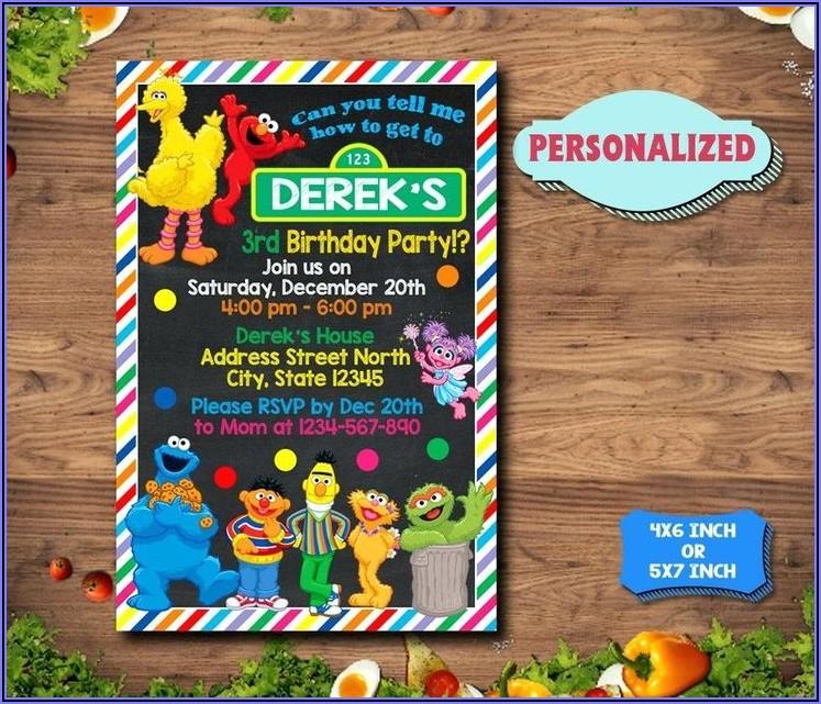 Sesame St Birthday Invitations