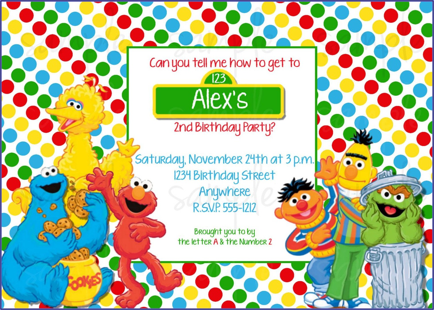 Sesame Street 2nd Birthday Invitation Wording