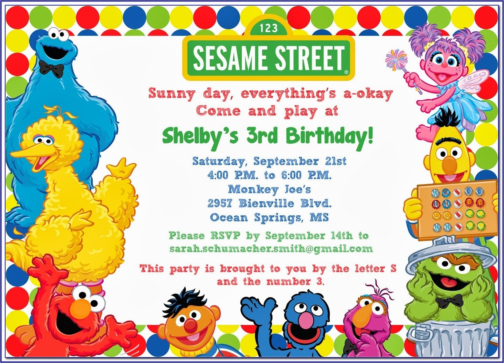 Sesame Street Birthday Invitations Template