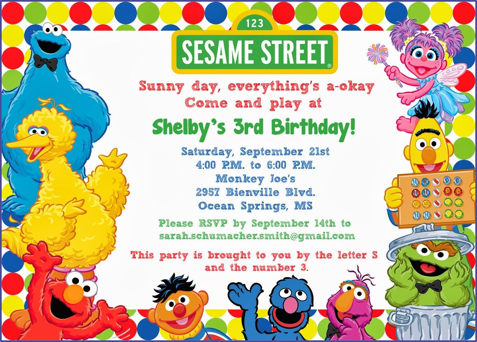 Sesame Street Birthday Invitations With Photo Template