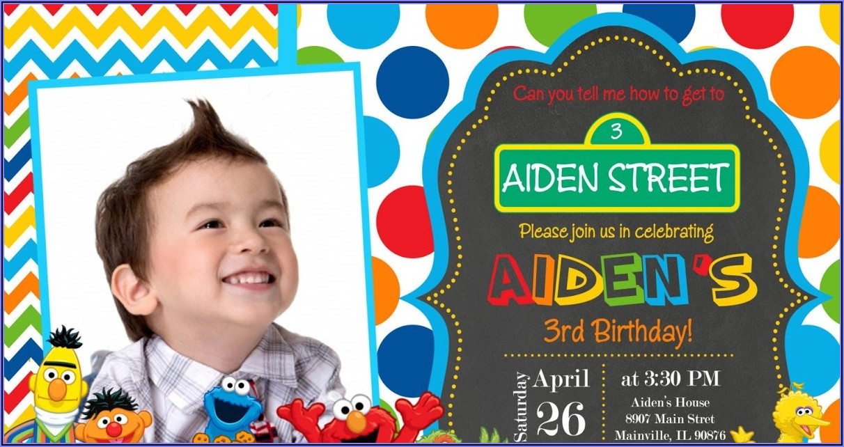Sesame Street Custom Invitations 1st Birthday