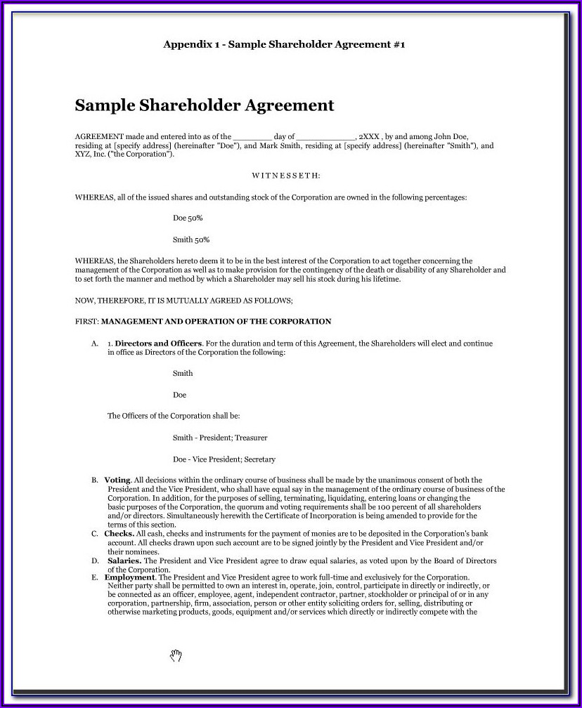 Shareholder Agreement Template Uk