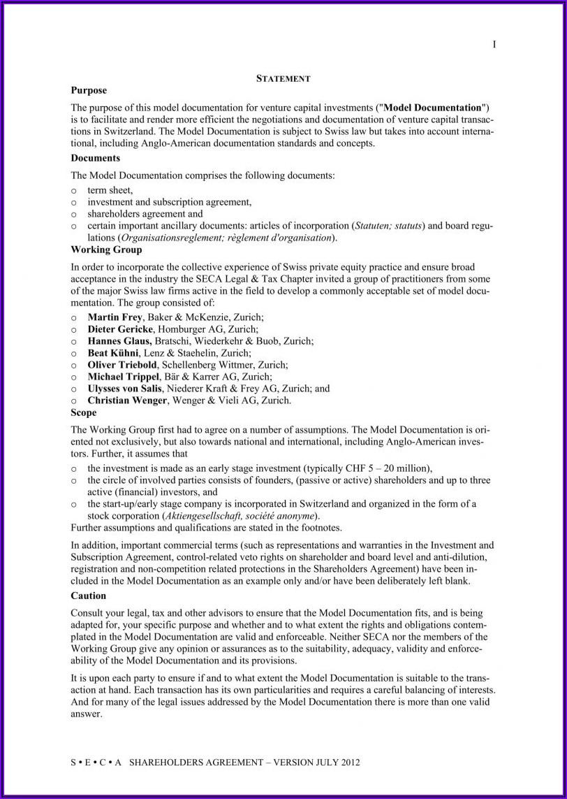 Shareholder Agreement Template Word