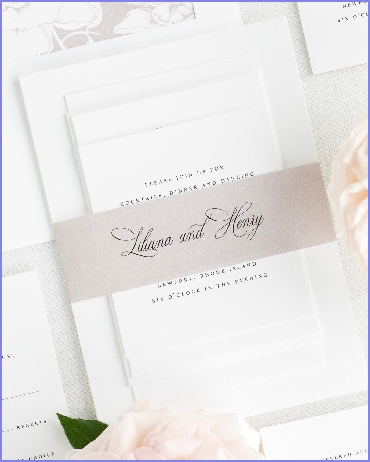 Shine Wedding Invitations Belly Band