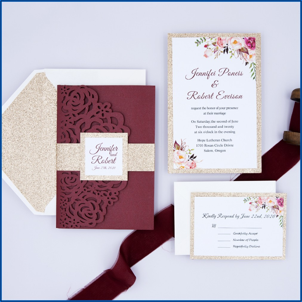 Silver Laser Cut Burgundy Floral Wedding Invitations