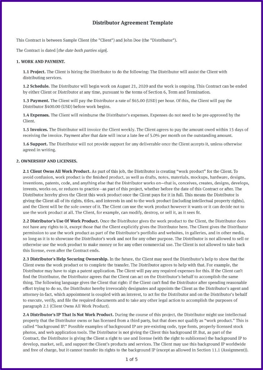Simple Distribution Agreement Template Free