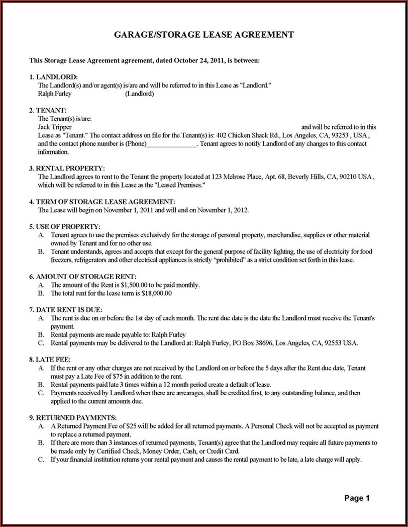 Simple Lease Agreement Form Printable