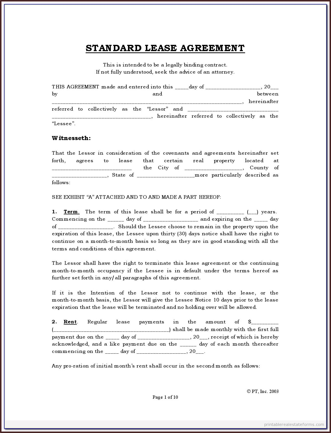 Simple Lease Agreement Form To Print