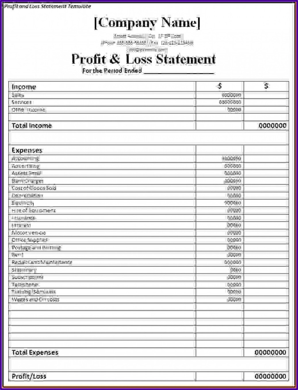 Simple Profit And Loss Template For Self Employed Uk