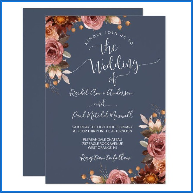 Slate Blue And Burgundy Wedding Invitations