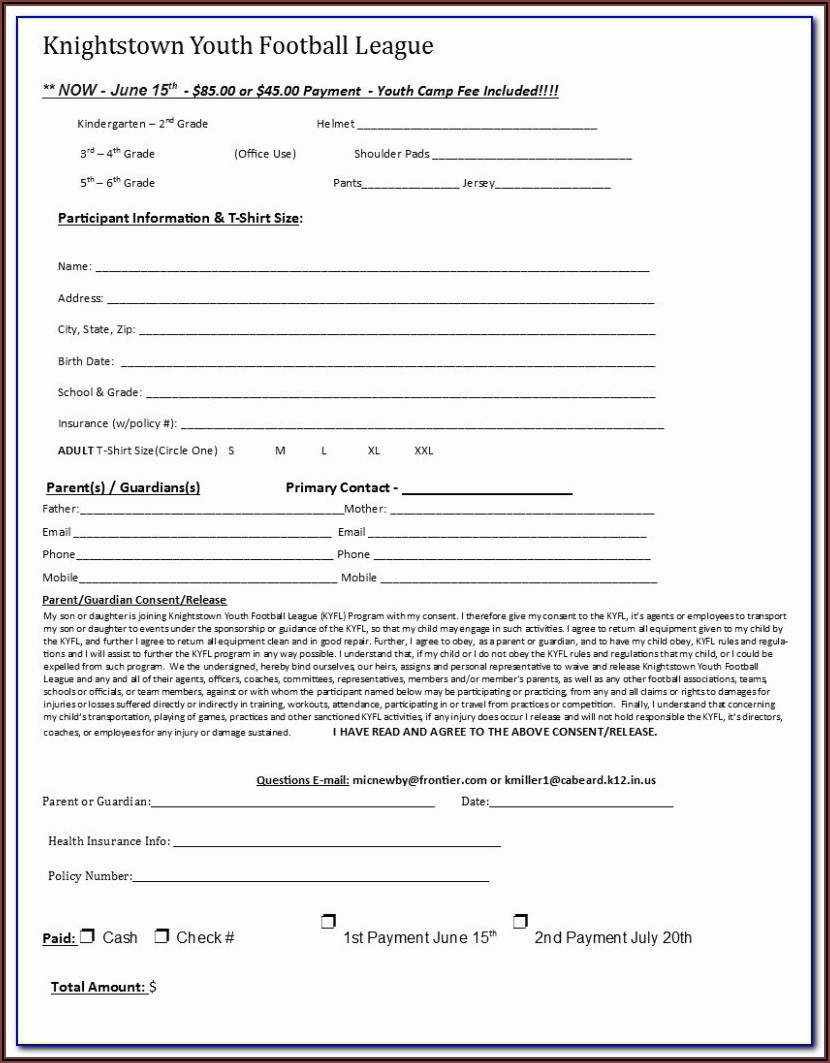 Softball Registration Form Template