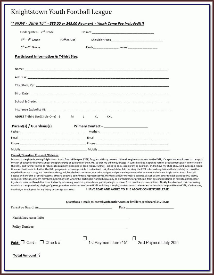Softball Registration Form Template