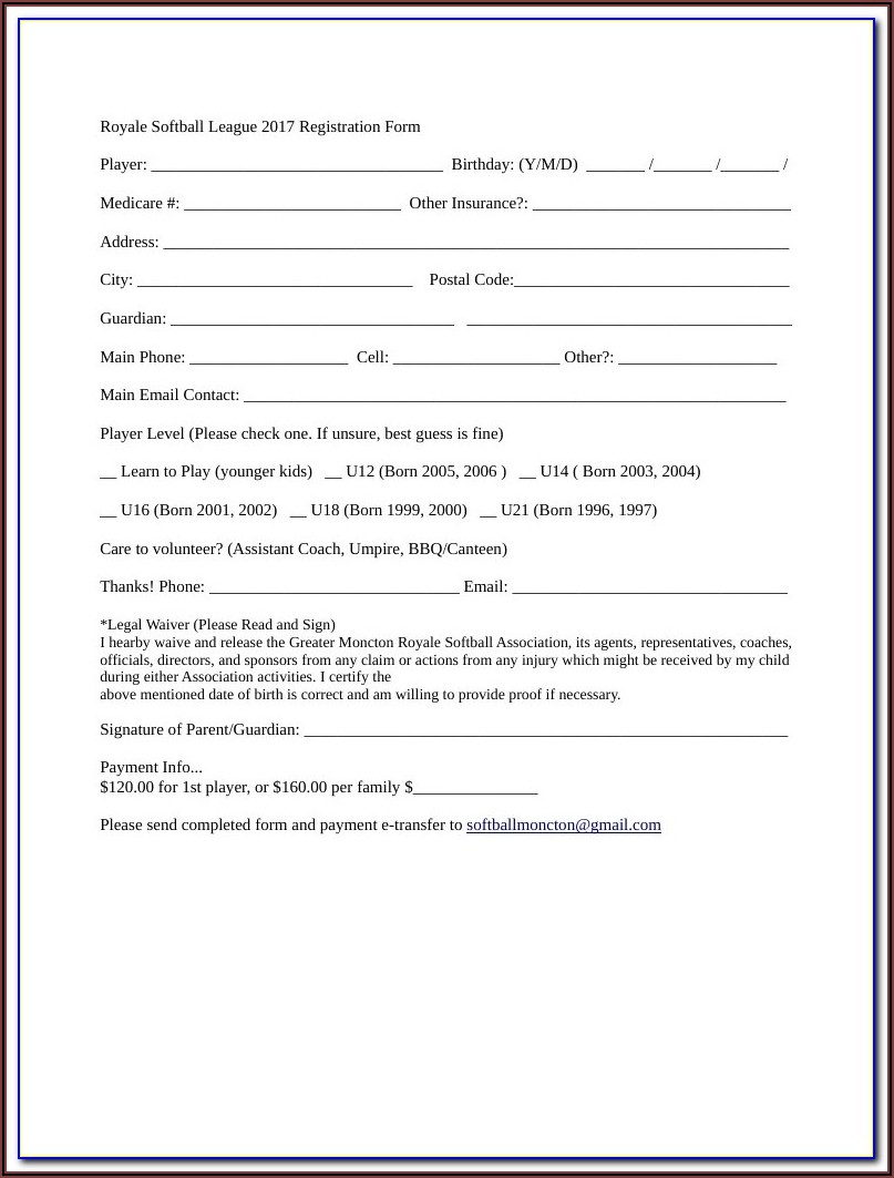 Softball Tryout Registration Form Template