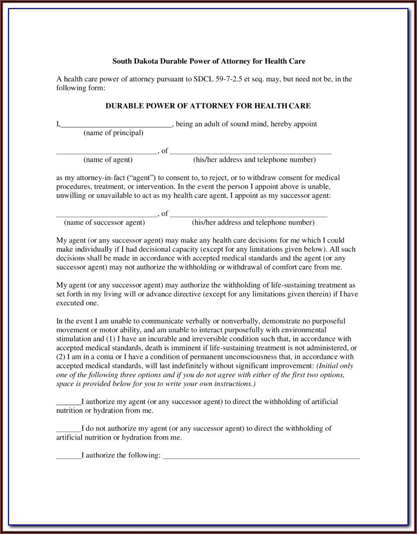 South Dakota Dmv Power Of Attorney Form