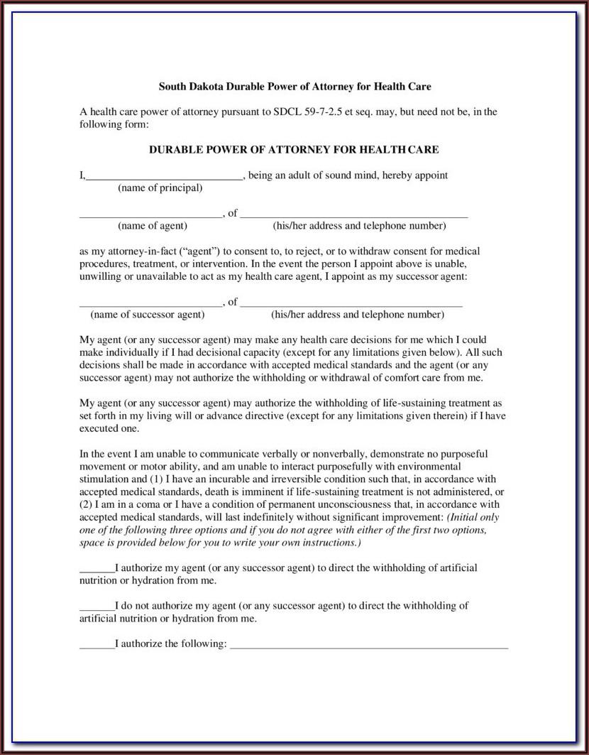 South Dakota Dmv Power Of Attorney Form