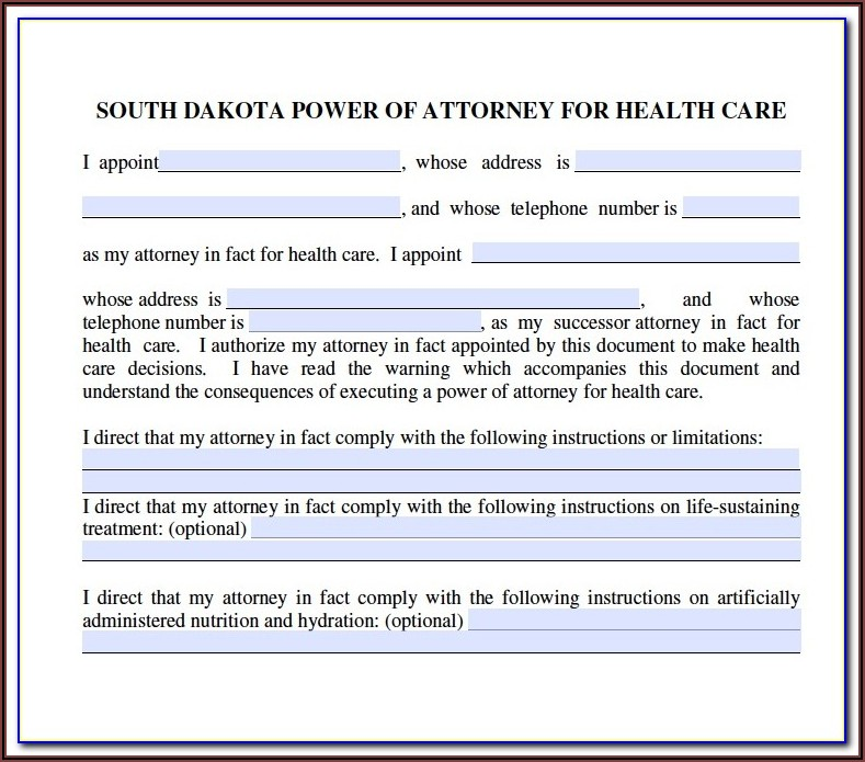 South Dakota Unemployment Power Of Attorney Form