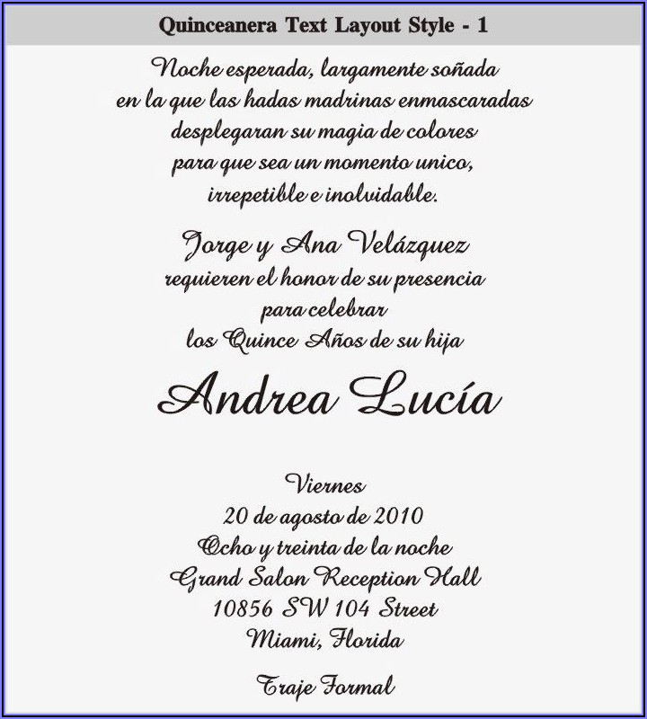 Spanish Language Quinceanera Invitation Wording In Spanish