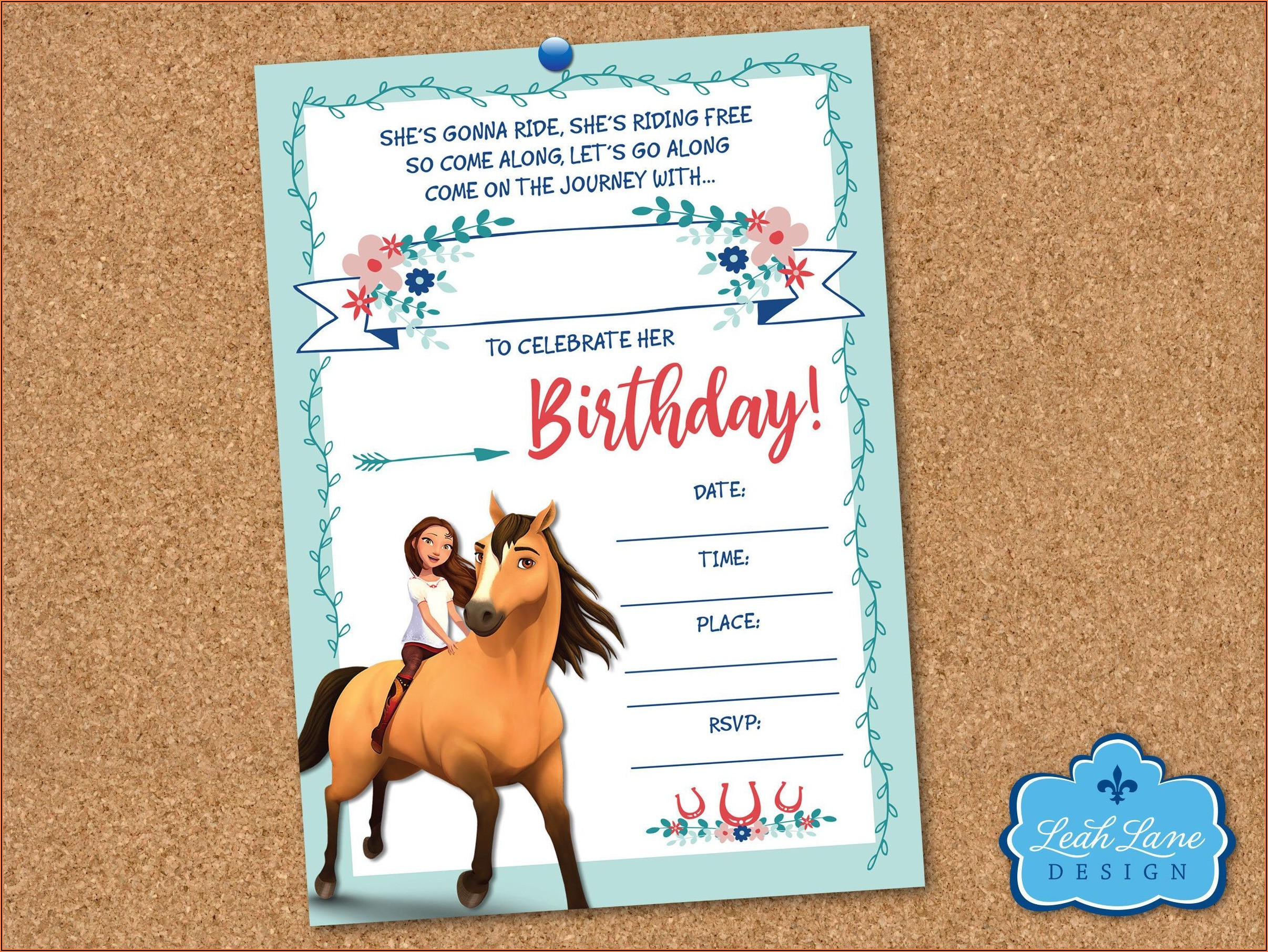 Spirit Riding Free Printable Birthday Invitations