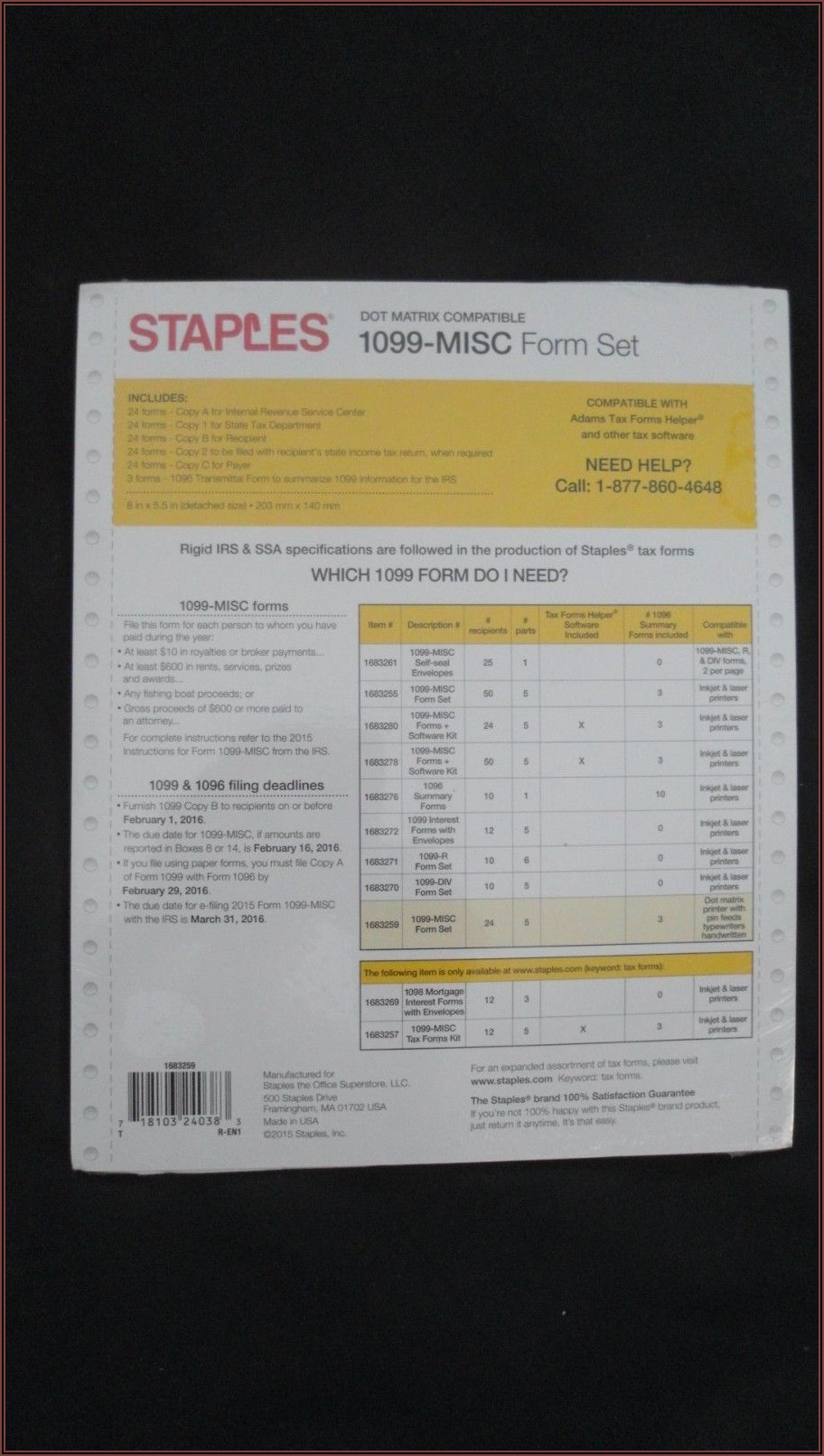 Staples 1099 And 1096 Forms