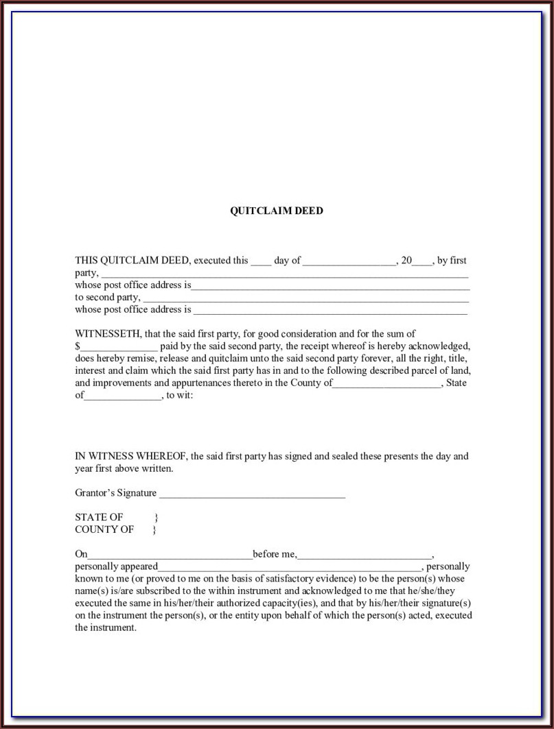 State Of Colorado Quit Claim Deed Form