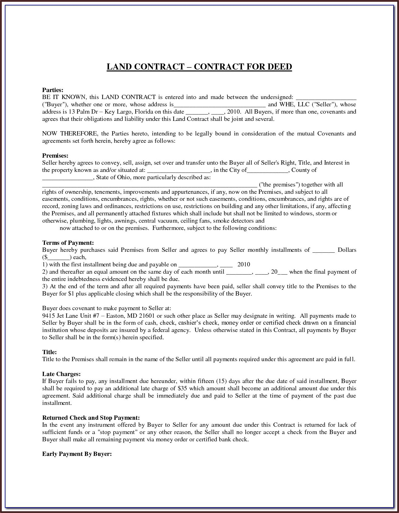 State Of Ohio Land Contract Forms