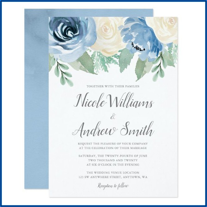 Steel Blue And Burgundy Wedding Invitations