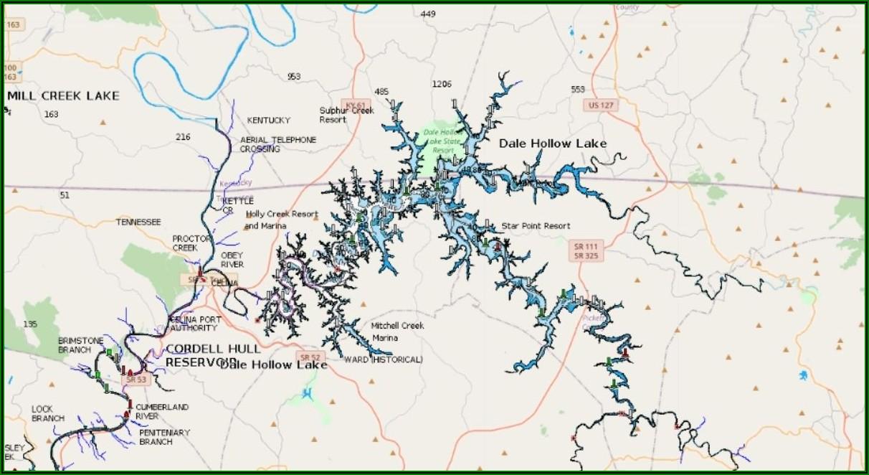 Stillhouse Hollow Lake Depth Map