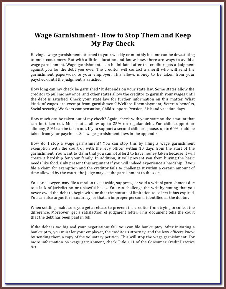Stop Wage Garnishment Form
