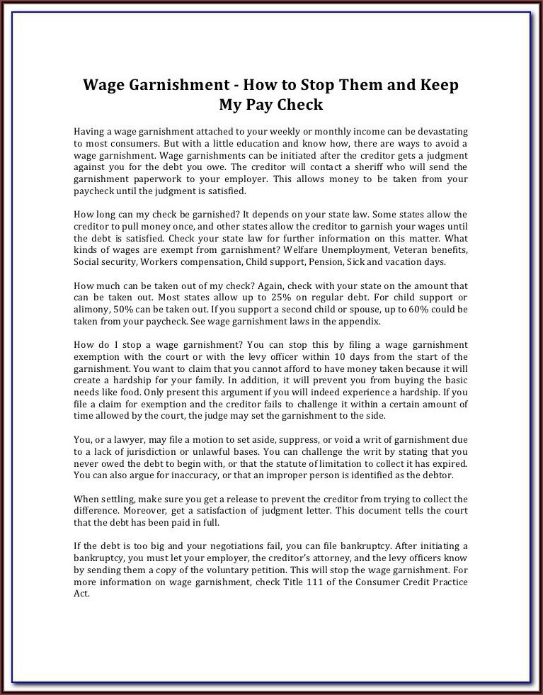 Stop Wage Garnishment Form