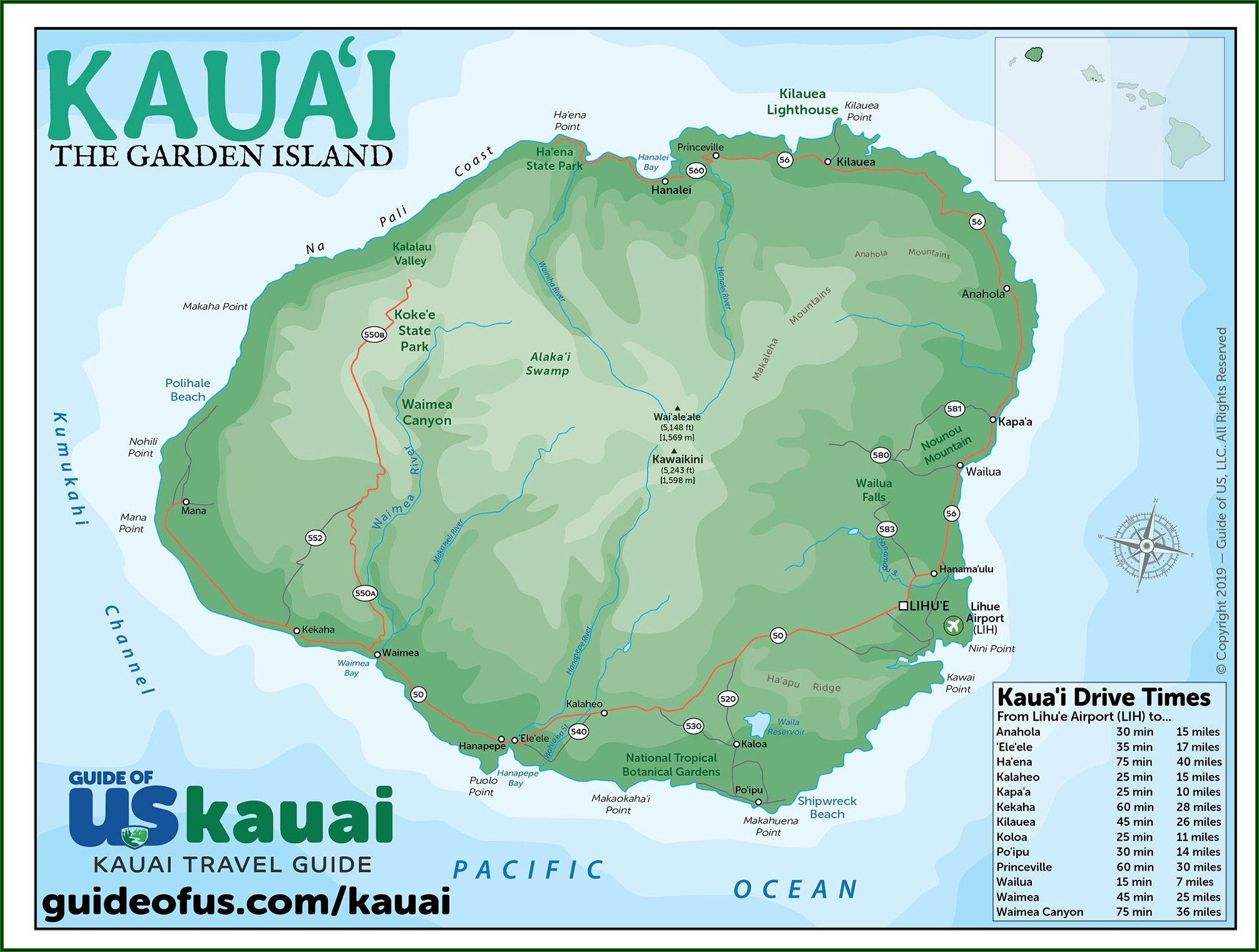 Street Map Of Kauai Hawaii