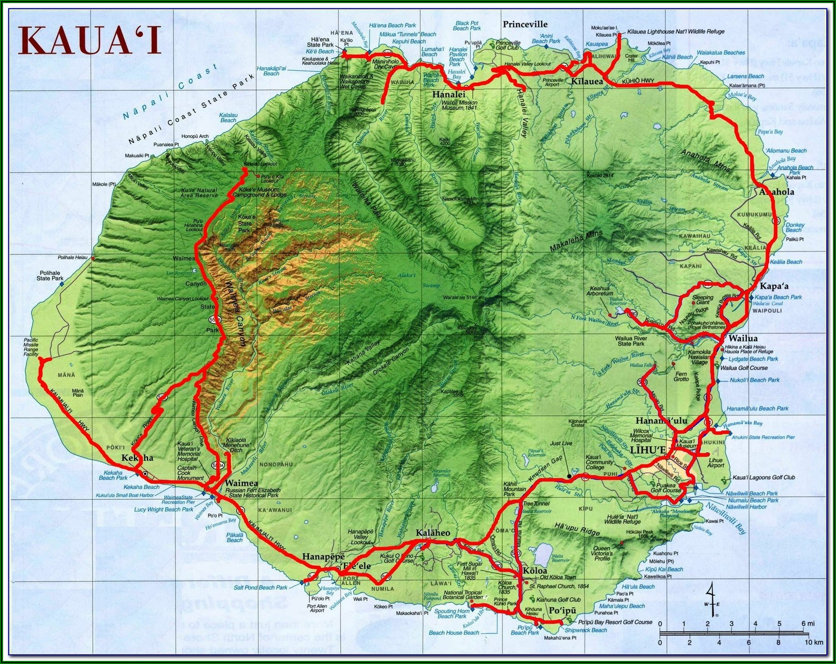 Street Map Of Kauai