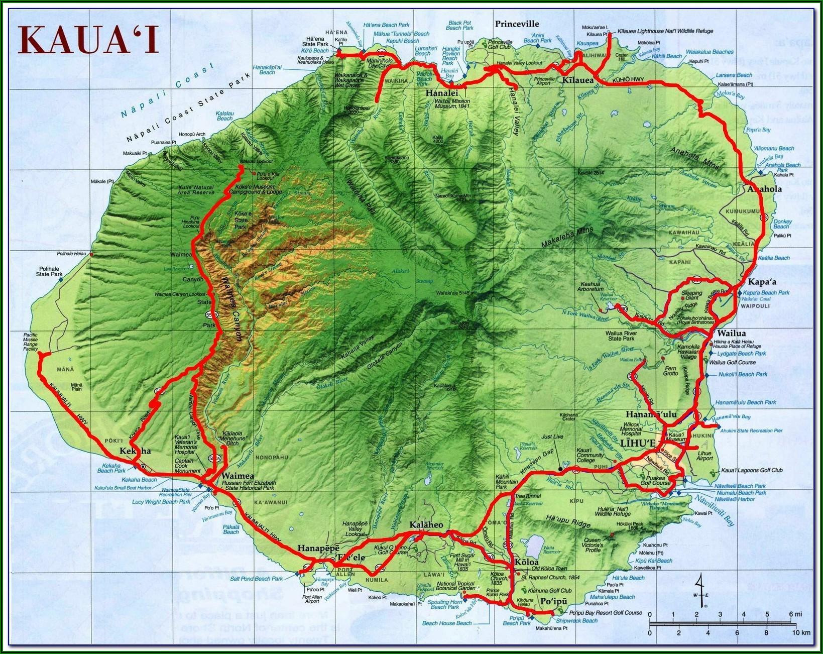 Street Map Of Kauai