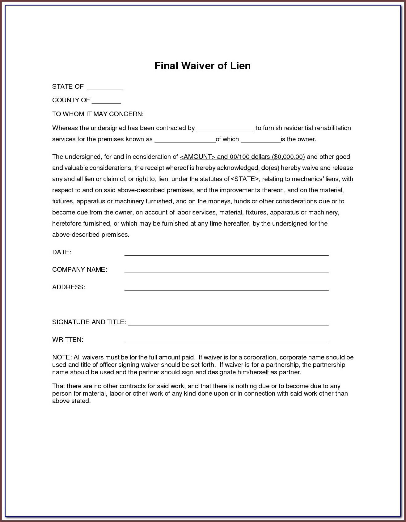 Subcontractor Partial Release Of Lien Form