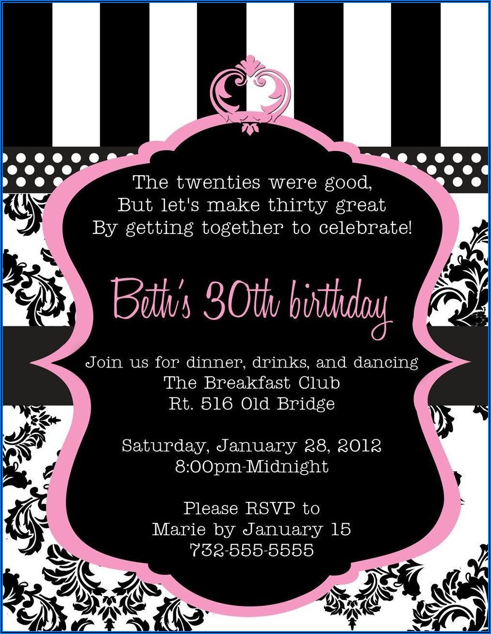 Surprise 30th Birthday Invitation Wording