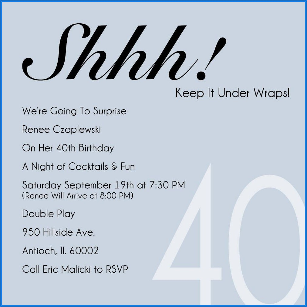 Surprise 40th Birthday Invitation Wording