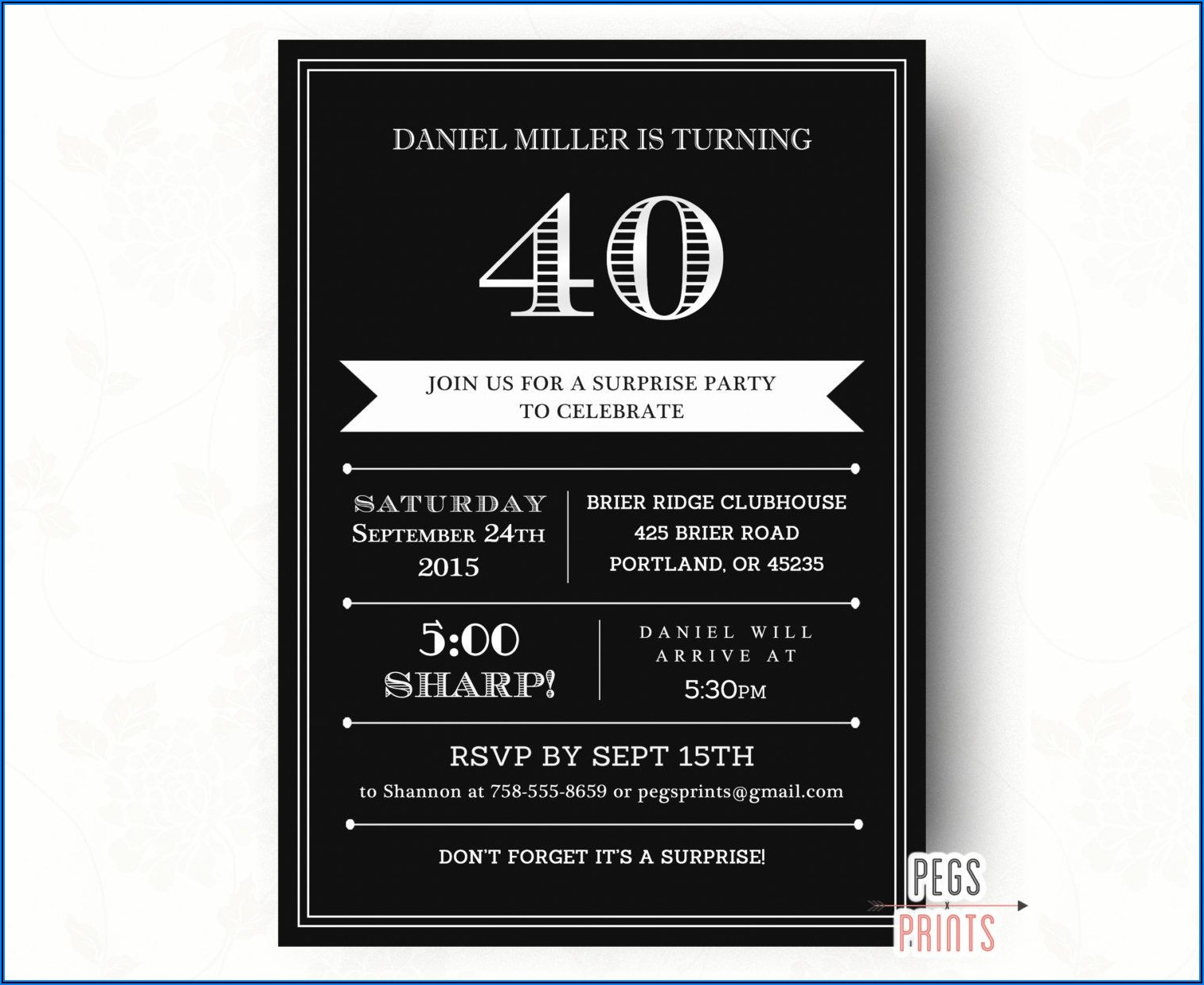 Surprise 40th Birthday Invitations For Him