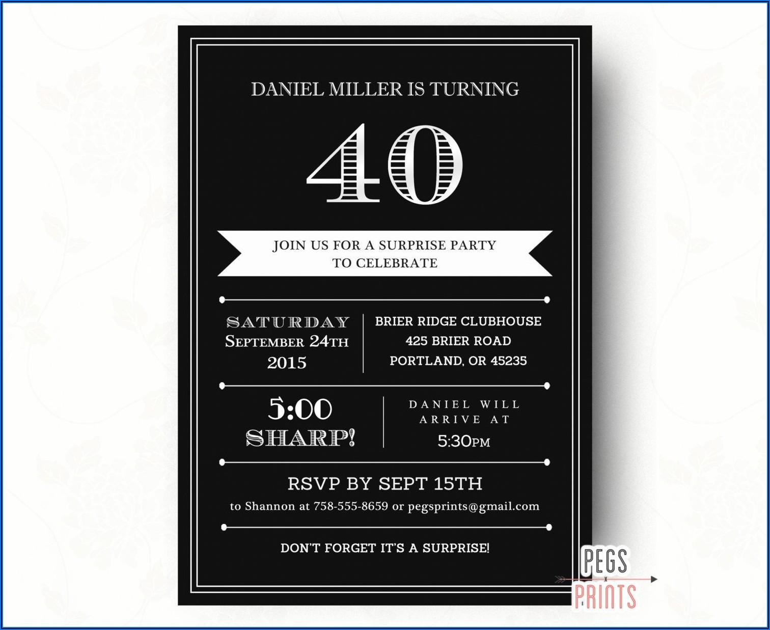 Surprise 40th Birthday Invitations For Him