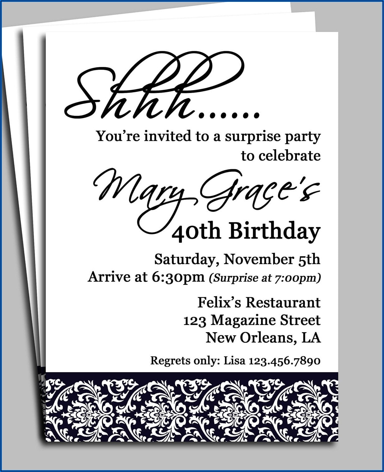 Surprise Birthday Invitations Templates
