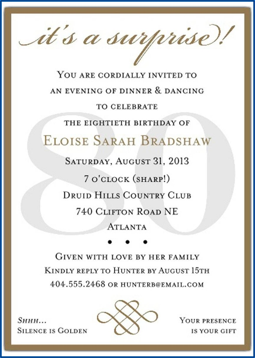 Surprise Birthday Invitations Text